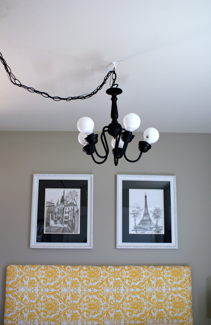 mini chandelier updated with spray paint