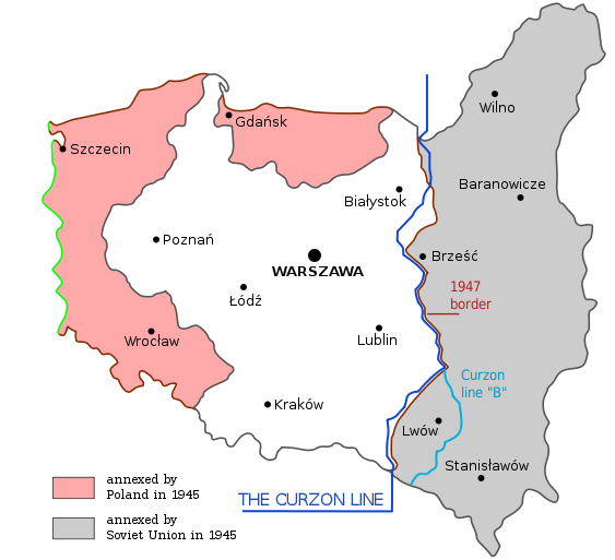 Curzon Line Map of Poland Before and After WW2