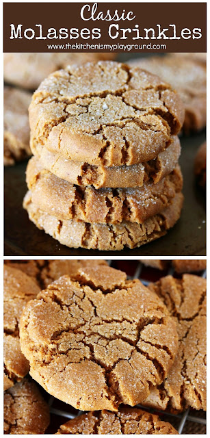 Classic Molasses Crinkles ~ These family-favorite molasses cookies are perfect for Christmas cookie platters and cookie exchanges. And for everyday snacking, too! #molassescookies #gingerbread #Christmascookies  www.thekitchenismyplayground.com