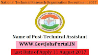National Technical Research Organization Recruitment 2017– 99 Technical Assistant