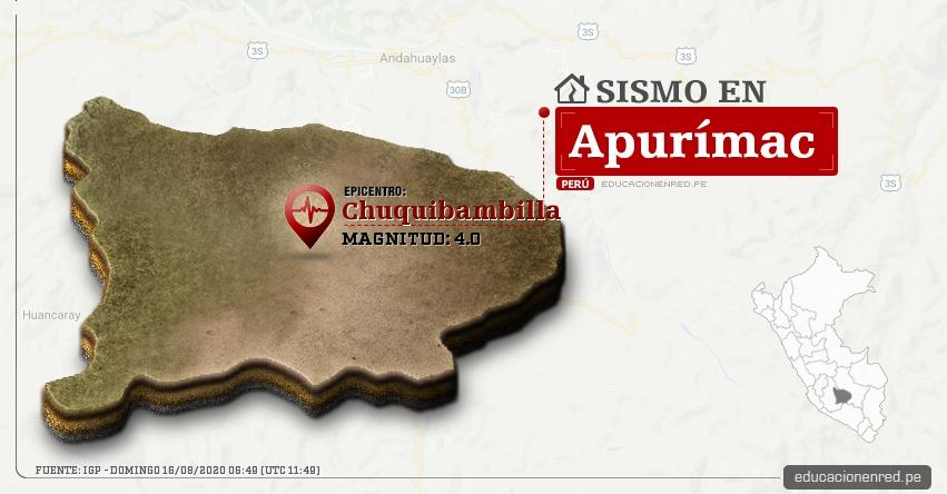 Temblor en Apurímac de Magnitud 4.0 (Hoy Domingo 16 Agosto 2020) Sismo - Epicentro - Chuquibambilla - Grau - IGP - www.igp.gob.pe