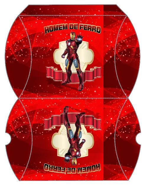 Caja Almohada para Imprimir Gratis  de Iron Man.