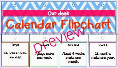 Calendar Flip Chart for Teachers