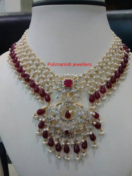 9bbd5d50579768 Linked Chains Light Weight Pearl Set - Jewellery Designs