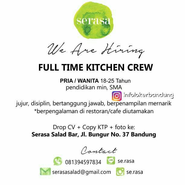 Lowongan Kerja Serasa Salad Bandung Agustus 2017