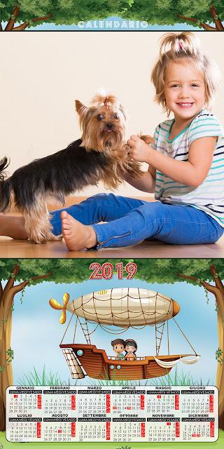 Calendario 2019 per bambini con spazio per foto orizzontale formato 30x60