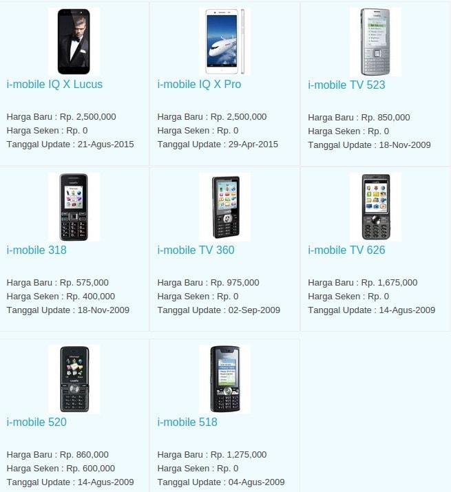 Daftar Harga Hp Terbaru i-Mobile Juni 2016