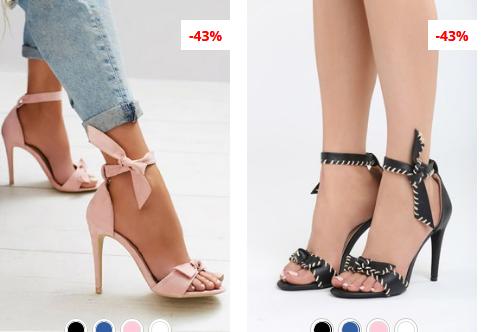 Sandale cu toc elegante de zi negre, roz de vara