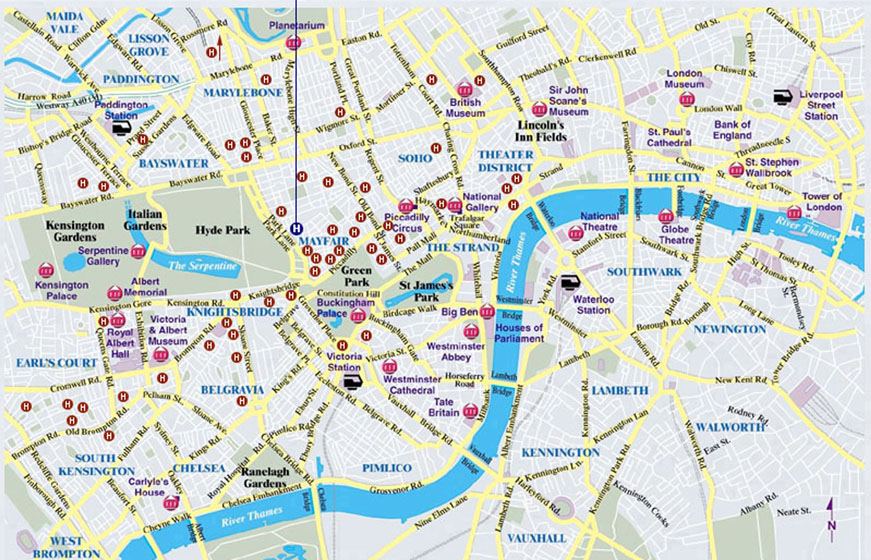 Karte London City.London City Map
