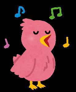 歌う鳥のカップルのイラスト(ピンク)