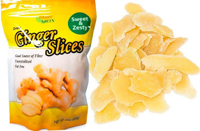 Fat Free Ginger Slices - Dried Uncrystallized Sweet Spicy Snacks by Forever Green Food Inc.