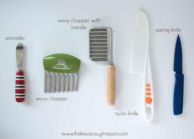 A progression of knives for a Montessori toddler. Using knives is a great and practical way for a toddler to get involved in the kitchen.