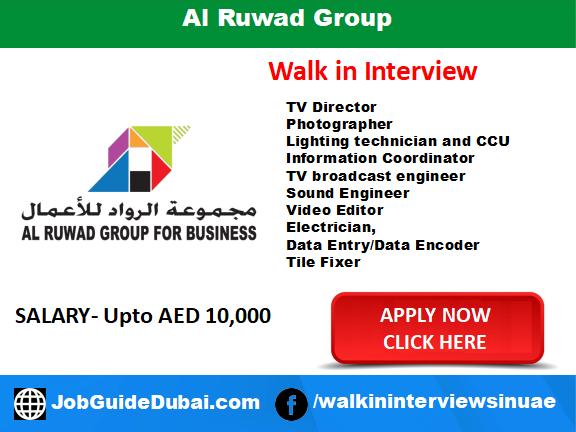 Job in Dubai for TV Director Photographer Lighting technician and CCU Information Coordinator TV broadcast engineer Sound Engineer Video Editor Electrician,  Data Entry/Data Encoder Tile Fixer