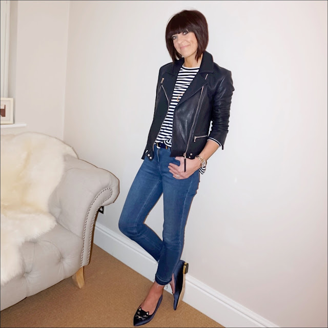 My Midlife Fashion, bonmarche stripe sweat top, massimo dutti navy leather biker jacket, boden cropped jeans, charlotte olympia kitty face slipper flats