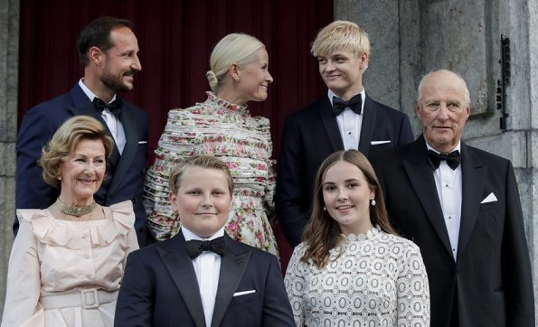 Princess Mette-Marit wore Zimmermann gown. Princess Ingrid Alexandra and Kate Middleton wore Self-Portrait dress
