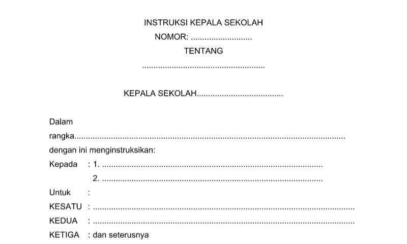 Contoh Format Bentuk Surat Instruksi KEPSEK untuk Perlengkapan Administrasi TU (Tata Usaha) Sekolah