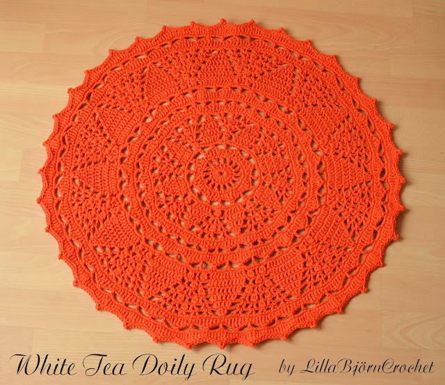 Orange lace crochet rug by LillaBjornCrochet