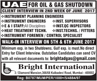 Oil & Gas Shutdown jobs UAE June 2017