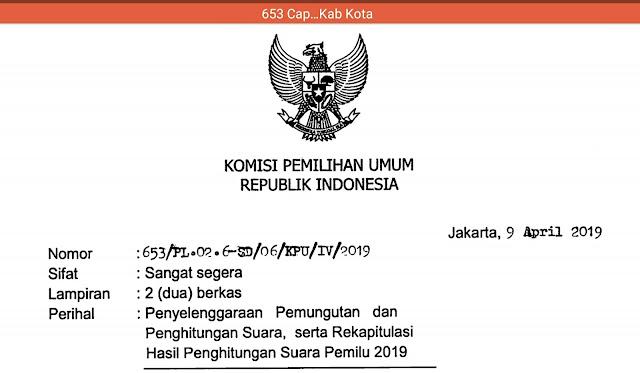 SE No. 653, Cap Kepada Ketua KPU Provinsi, KIP Aceh, dan KPU Kab Kota
