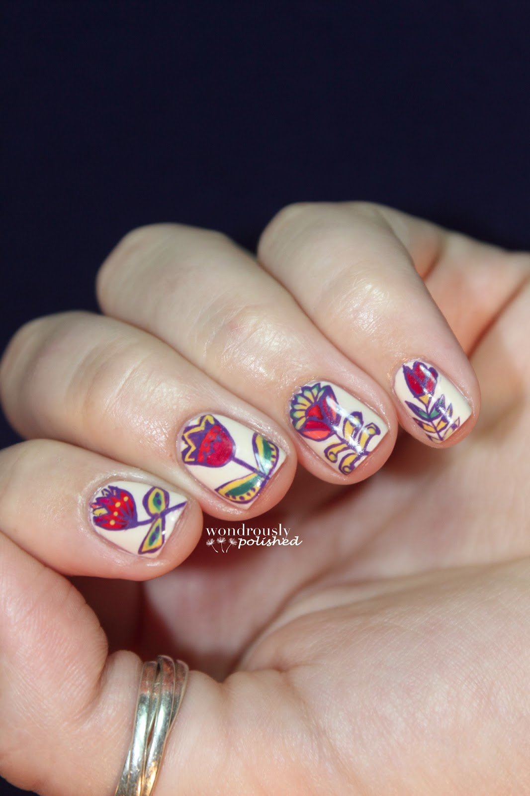 Wondrously Polished February Nail Art Challenge: Wondrously Polished: Funky Floral