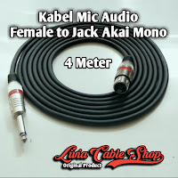Kabel Mic XLR Audio Female To Jack Akai Mono Canon Canare 4 Meter