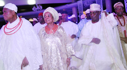 From left:Chief Gabriel Igbinedion, Olori Ojuolape Ojora, Otunba Adekunle Ojora and Oba Folagbade Olateru Olagbegi III, Olowo of Owo.