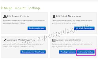 Name.com Manage Account Settings