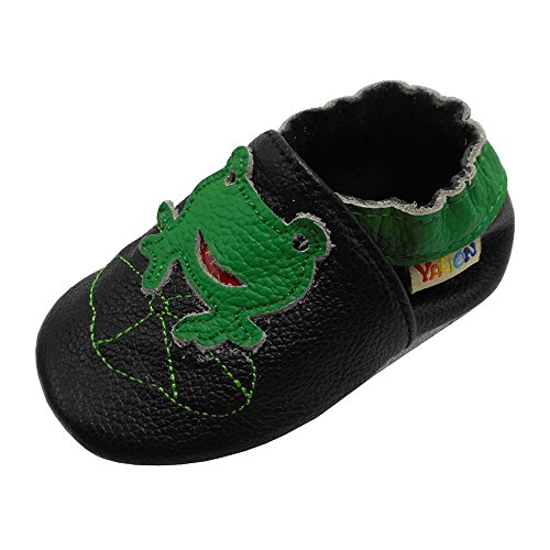 4d75a863 Yalion Baby Boys Girls Shoes Crawling Slipper Toddler Infant Soft Leather  First Walking Moccasins (APPR. 0-6 Mos, Black & Frog) 2019