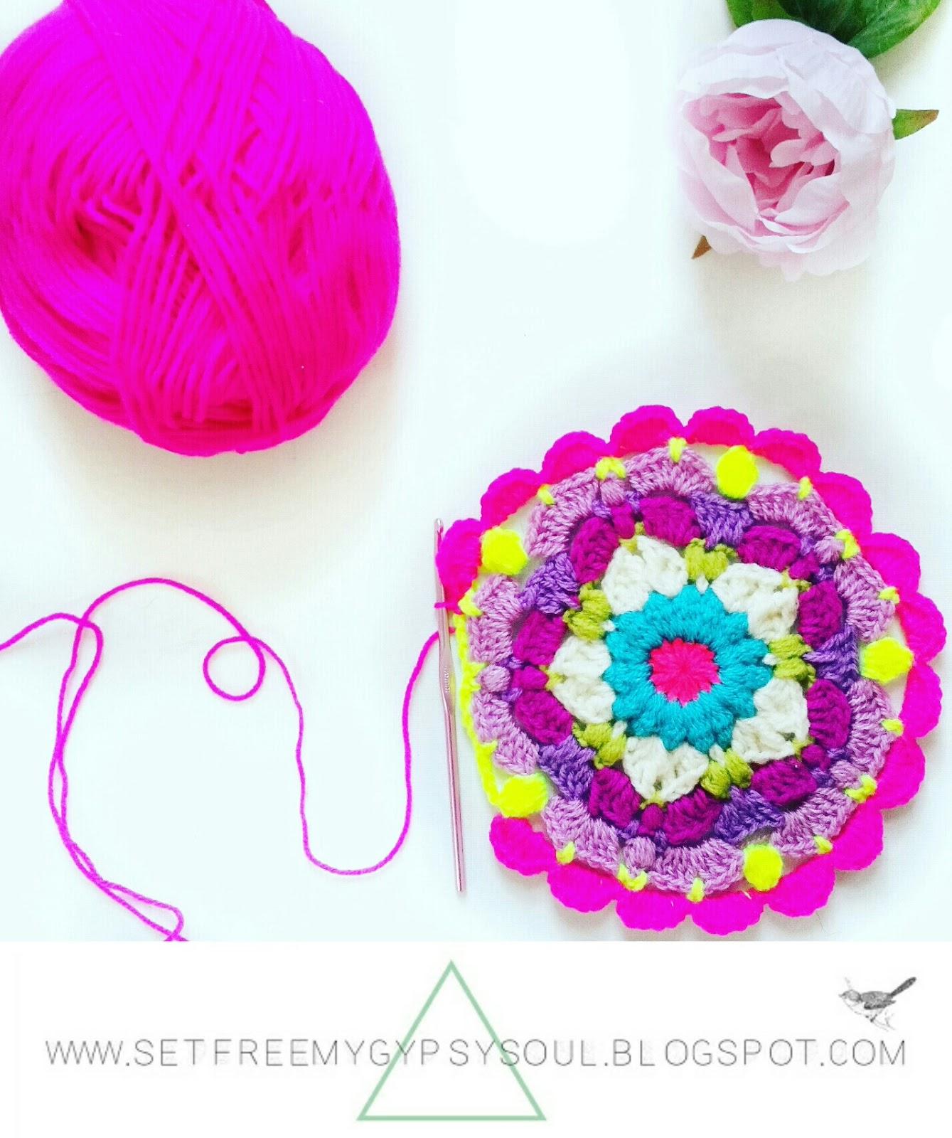 free mandala crochet pattern pink peggy instagram bohemian boho hippie flower