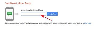 Masukan Nomer Verifikasi Email Gmail