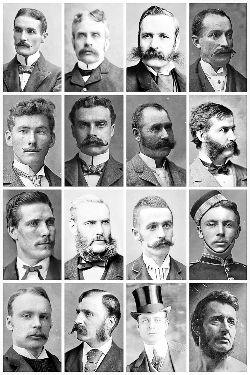 vintage portraits depict victorian men's hairstyles and facial