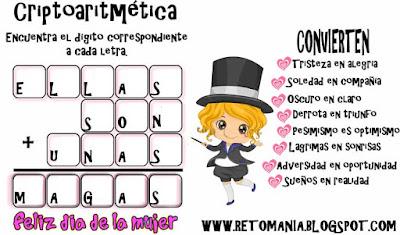Criptoaritmética, Alfamética, Criptosuma, Criptogramas, Juego de Letras