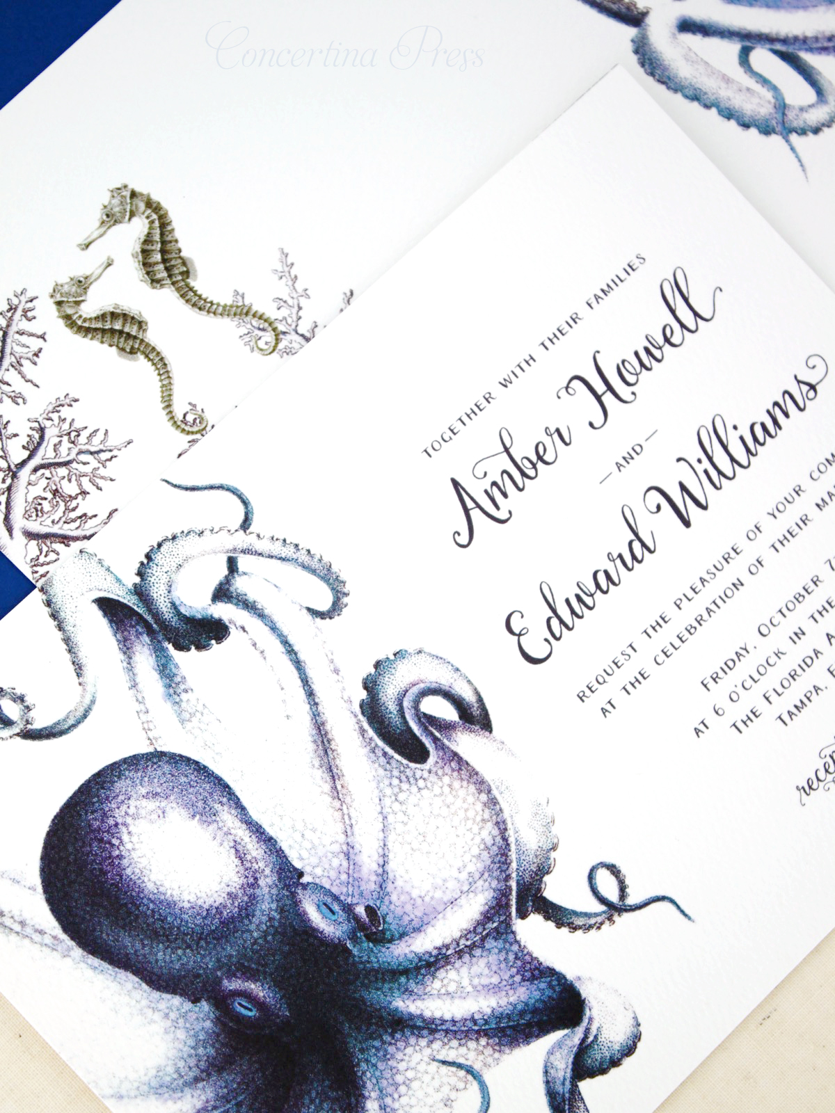 Octopus Wedding Invitations from Concertina Press
