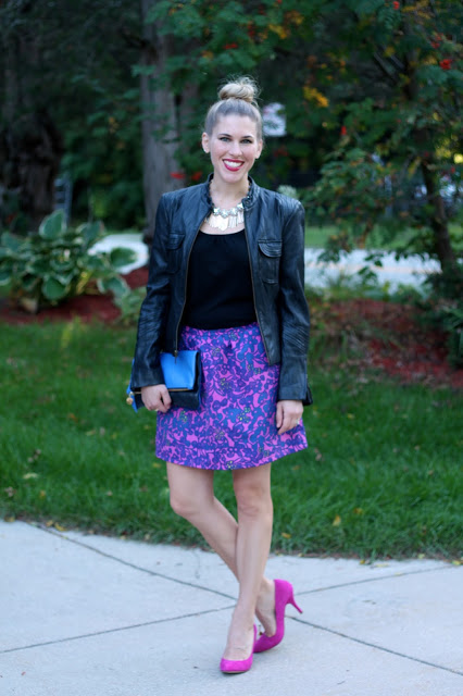 black leather moto jacket, floral skirt, pink heels