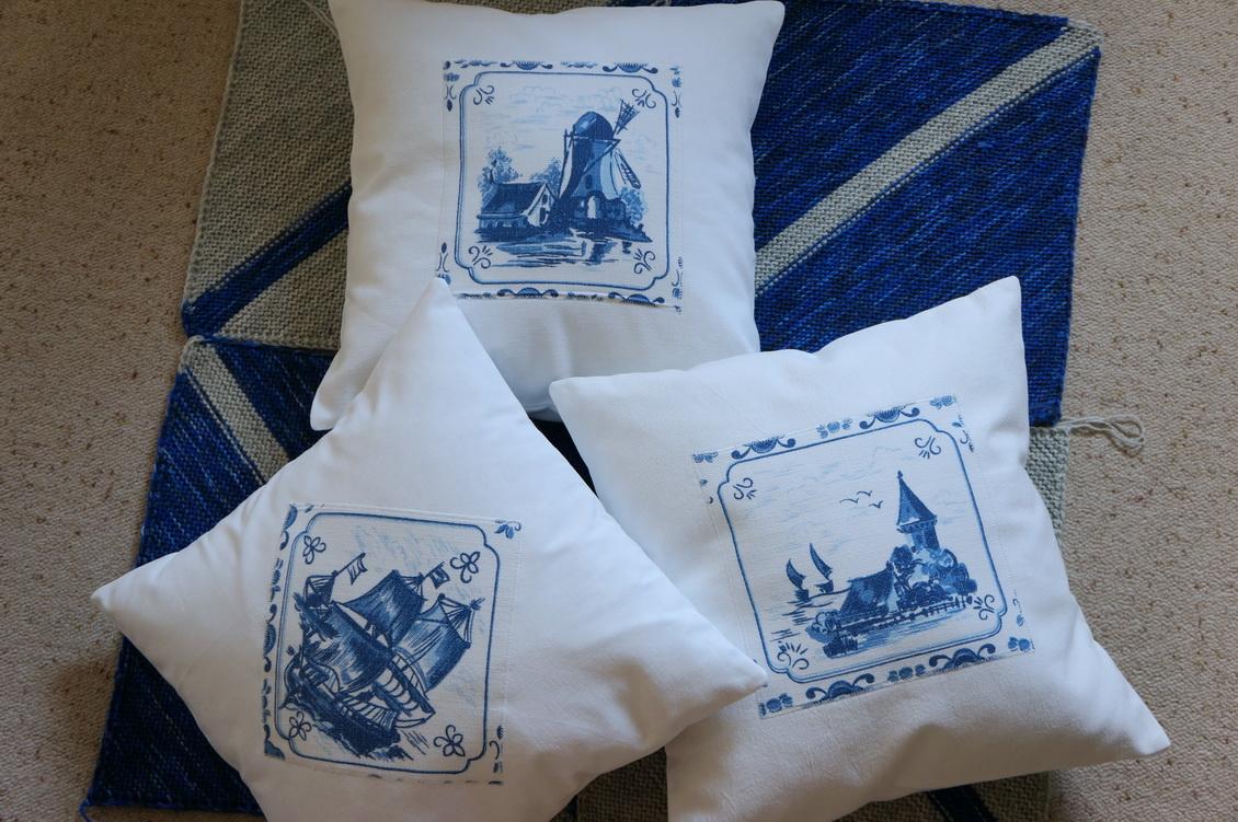 meine quilts und ich kissen mit delfter motiven. Black Bedroom Furniture Sets. Home Design Ideas