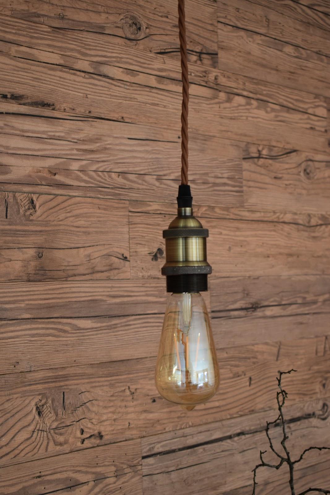 Lampe Vintage Stoffkabel Edison Glühbirne Deko Dekoidee Leuchte