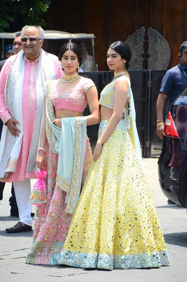 Janhvi and Kushi Kapoor in Manish Malhotra at Sonam Wedding