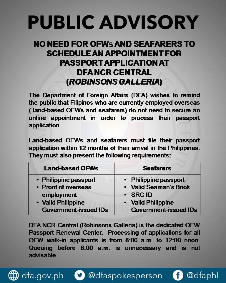 dfa public advisory no appointment for ofws and seafarers With documents required for passport 2017