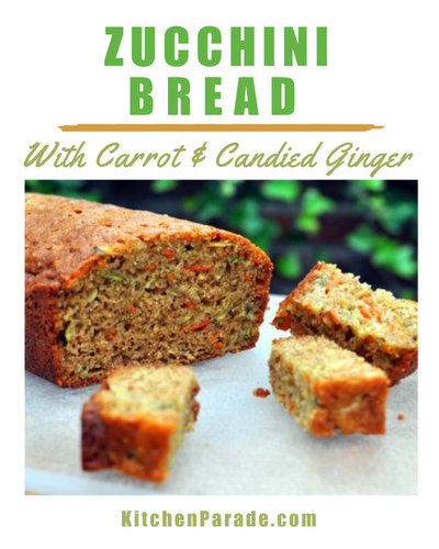 Zucchini Bread with Carrot & Candied Ginger ♥ KitchenParade.com, my go-to recipe, plenty of zucchini, carrot for color, ginger for zing, lots of spices. Stays fresh for days!