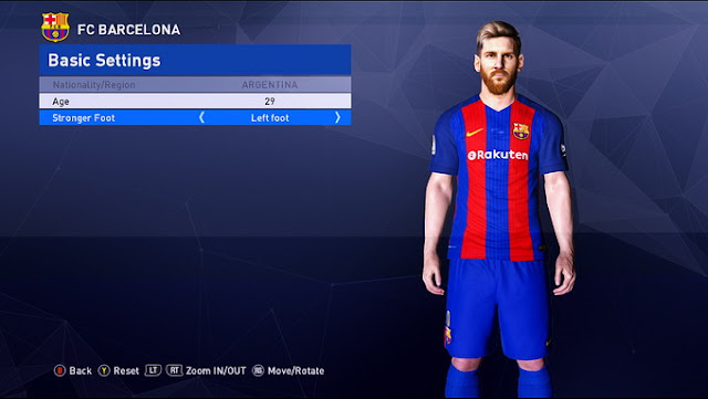 PES 2017 FC Barcelona Kit (New Sponsor)
