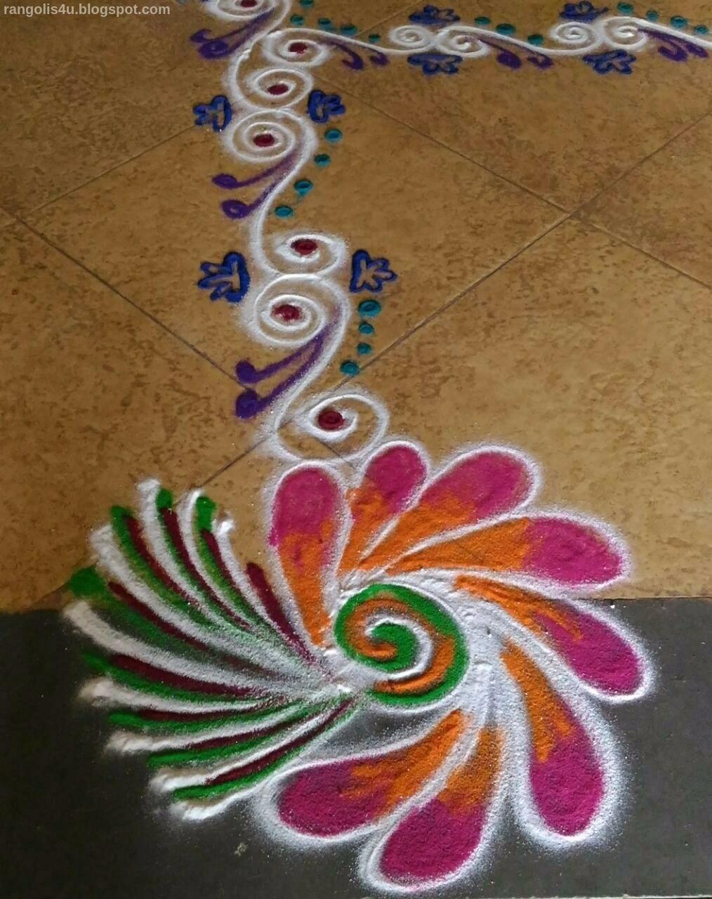 Beautiful Rangoli Designs Colorful Flower Rangolis