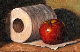 Oil painting of a red apple placed on an unfurled leaf of a toilet roll.