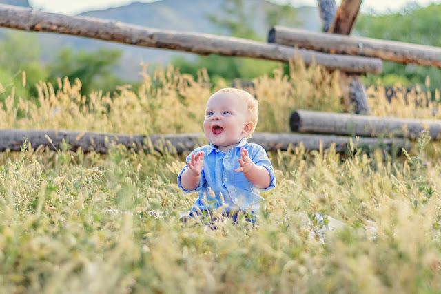 an adorable photo of a young baby boy for his family's family portraits in Golden Colorado