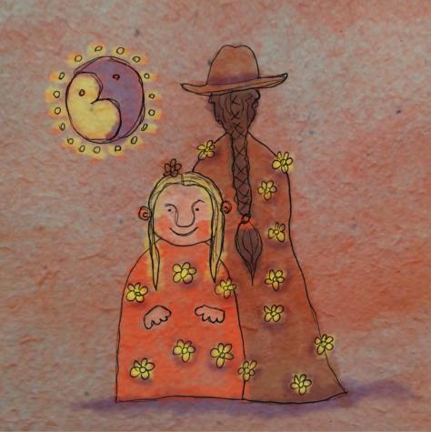 Illusztráció gyerekvershez, kócos mosolyú, szőke tündérkeresztanya és copfos, kalapos tündérkeresztapa áll virágos ruhában, nap és hold alatt.