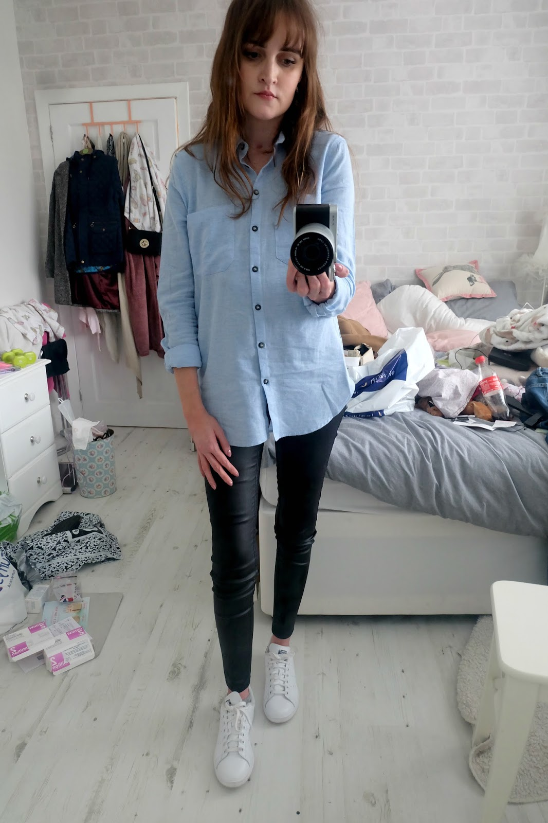 topshop blue shirt, leather look jeans new look, adidas stan smith navy and white