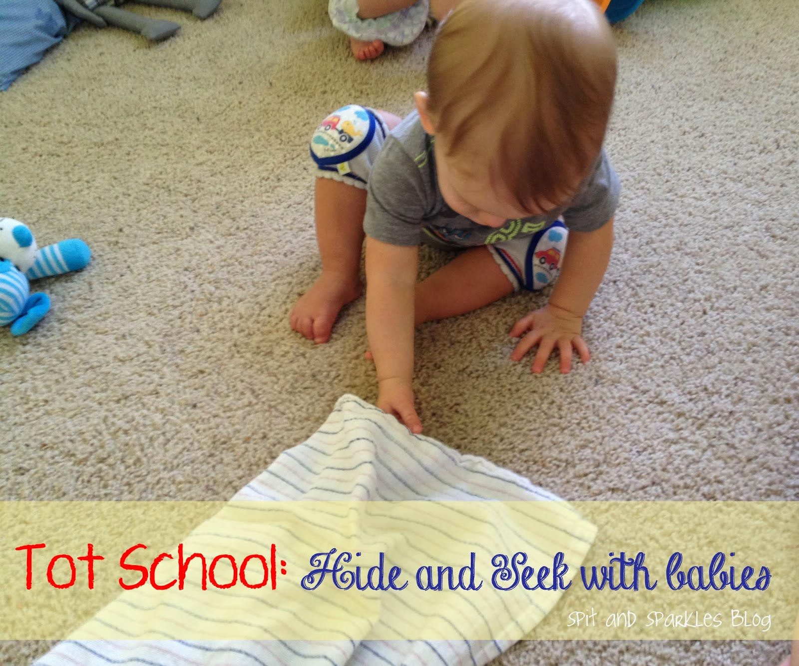 Playing hide and seek with babies teaches object permanence and more! #totschool #earlylearning #homeschool