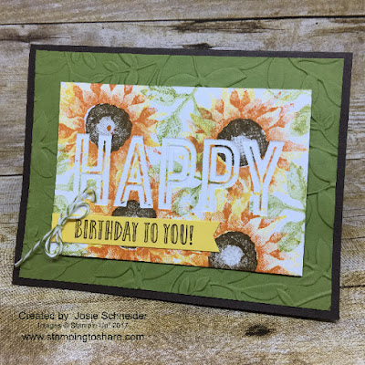 Stampin' Up! Painted Harvest combined with Happy Celebrations and the Celebrations Duo Embossing Folder. Created by Josie Schneider for Stamping to Share Demo Meeting Swap.