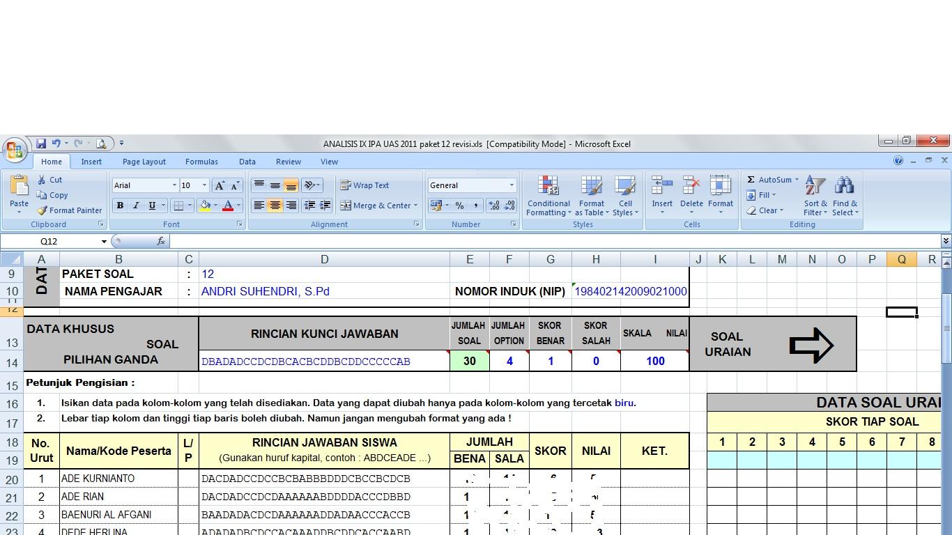 Software Pengolah Nilai Ulangan Pg Dan Essay Penelitian Tindakan Kelas Sertifikasi Guru Ptk