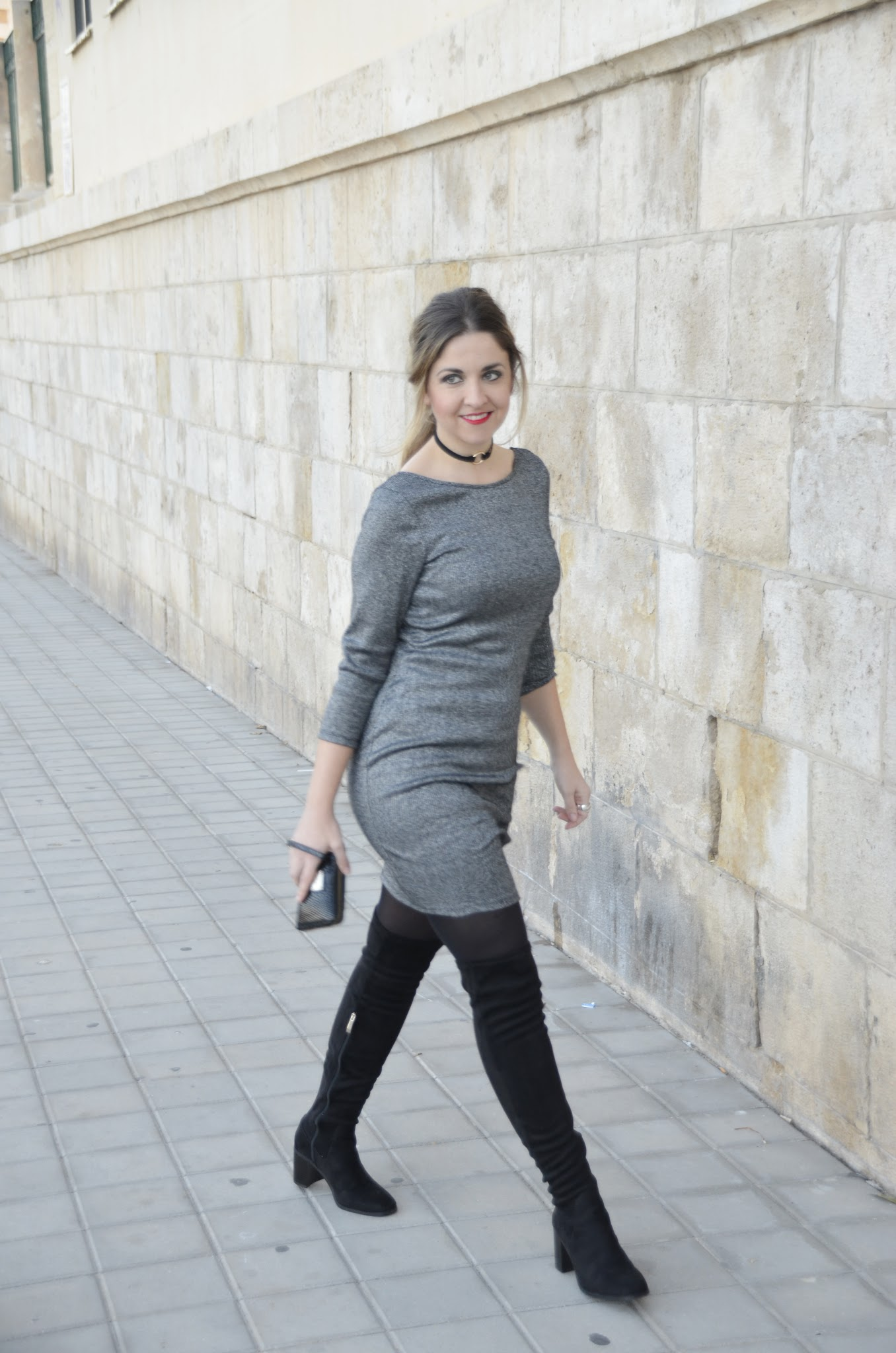 how to wear a grey dress and maxi boots
