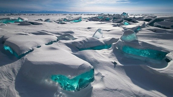 Turquoise Ice at Northern Lake Baikal in Russia